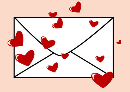 Abstract vector of an envelope with hearts Vector