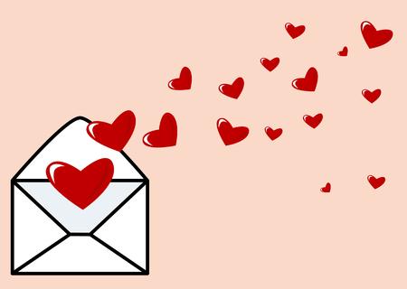 secret love: Resumen de vectores de un sobre con corazones