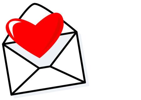 secret love: Resumen de vectores de un sobre con corazones Vectores