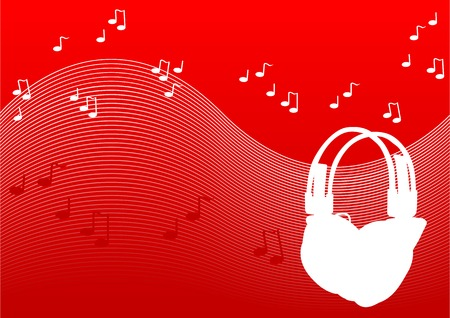 discjockey: Abstract vector illustration of headphones on a red background