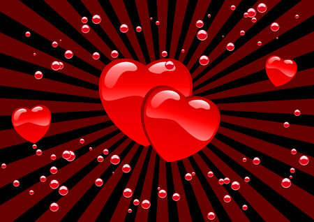 Abstract vector illustration of hearts and bubbles Vector