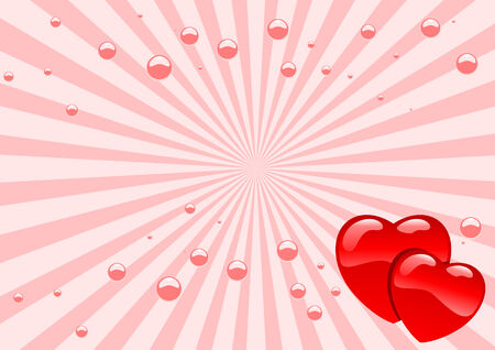 Abstract vector illustration of glassy hearts Vector