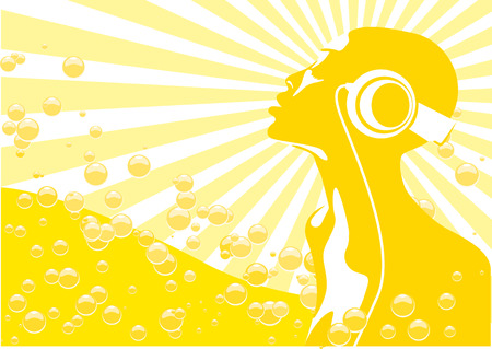 Abstract vector of african woman listening to music Vector