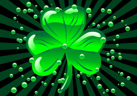 clover banners: Abstract vector illustration  of a glass shamrock