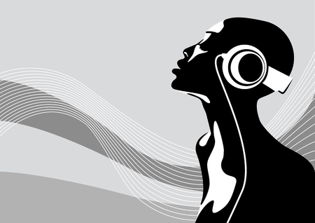 Abstract vector illustration of an african woman listening to music Vector