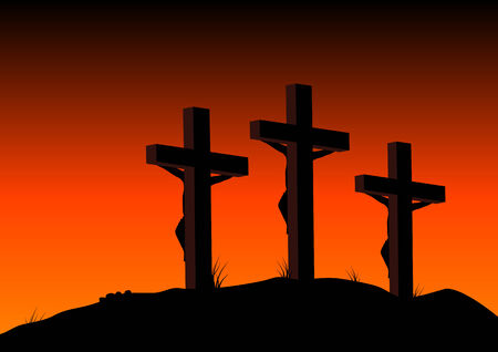 condemned: Abstract vector illustration of 3 figures on crosses