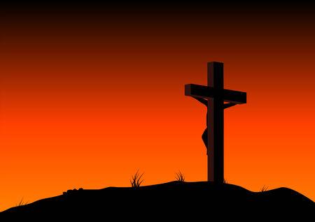 fondos religiosos: Resumen ilustraci�n vectorial de Cristo en la cruz