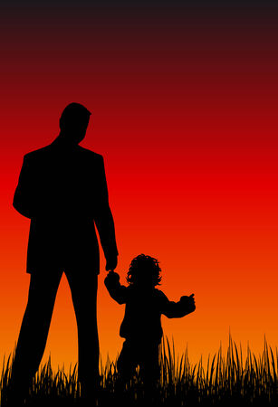 Abstract silhouette vector illustration of a father and his child Illustration