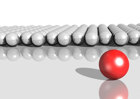 challenger: 3d rendering of white balls and a red ball