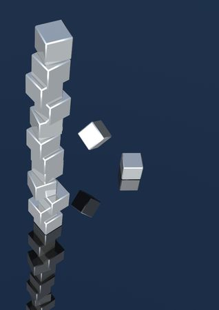 tumbling: 3d rendering of silver cubes tumbling down