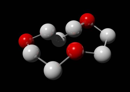 ions: 3d rendering of red and white molecules on a black background