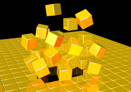 void: 3d rendering of gold cubes exploding