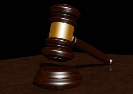 courtroom: 3d rendering of a judges gavel