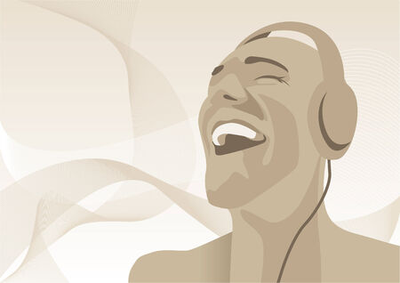 disc jockey: Abstract vector illustration of a man listening to music