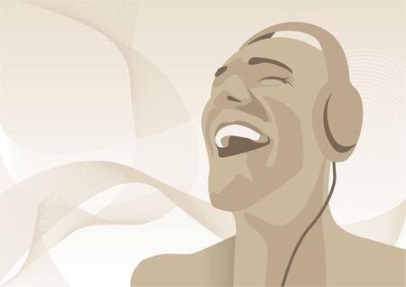 scheibe: Abstract Vektor-Illustration eines Mannes Musikh�ren