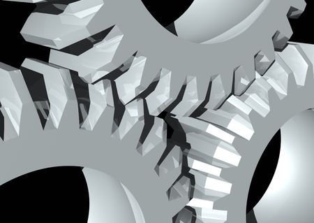 3d rendering of some gears on a black background photo