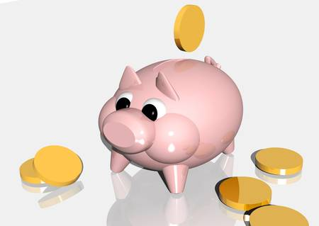 retire: 3d rendering of a pink piggybank and some coinshapes