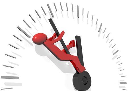 ahorro energetico: 3d prestaci�n de un hombre rojo tratando de ganar tiempo