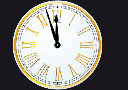 watch new year: Old fashioned clock thats almost striking twelve
