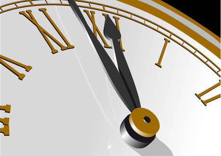 striking: Abstract vector illustration of a clock almost striking twelve