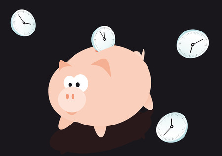Abstract vector illustration of a piggybank for saving time Vector