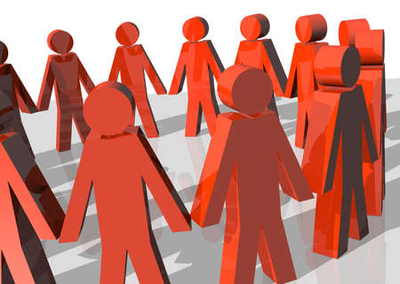 business metaphore: 3d rendering of a circle of red men forming a team