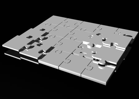 3d rendering of a chrome jigsaw puzzle