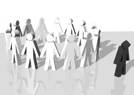discriminacion: representaci�n 3d de un grupo de hombres blancos exlcuding un hombre negro Foto de archivo