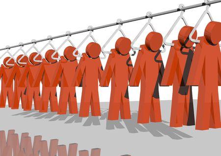 new recruit: 3D hombres de rojo colgando de una f�brica de polo  Foto de archivo