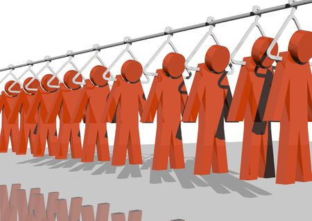 job opening: 3d rendering of red men hanging from a factorys pole