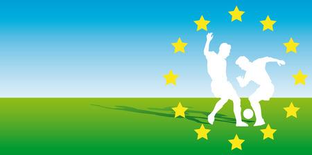uefa: Zusammenfassung Vektor-Illustration von zwei soccerplayers