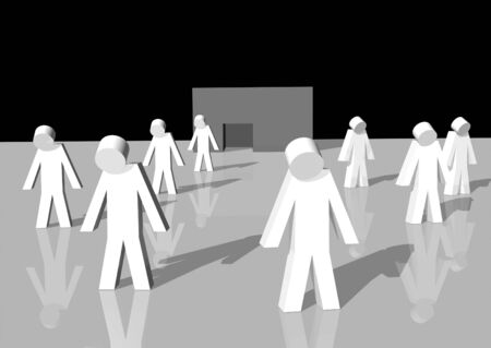 3d rendering of white men walking away from a bankrupt firm Stock Photo