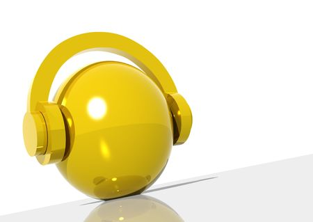 3d rendering of a golden sphere with headphones photo