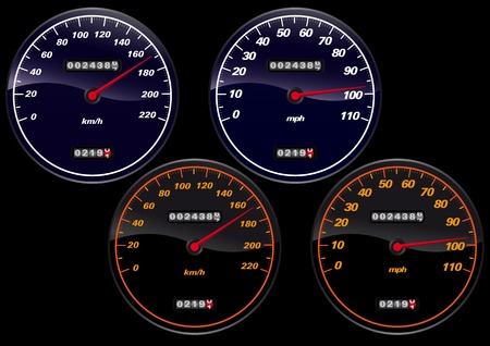 Vector illustration of several speedometers  イラスト・ベクター素材