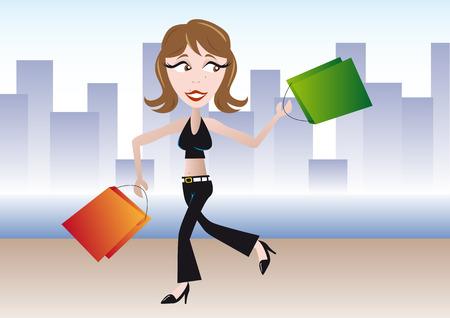 Resumen ilustración vectorial de una chica con bolsas de la compra