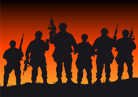 war on terror: Abstract silhouette vector illustration of several soldiers against a sunset