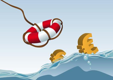 ahogandose: Resumen ilustraci�n vectorial de algunas de euros siendo rescatado por una vida-line  Vectores