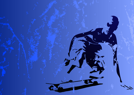 chipped: Abstract vector illustration of a grungy young skaterboy
