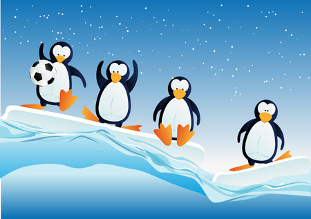 northpole: Cartoonstyle illustration of penguins Illustration