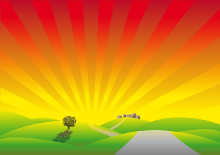 sunbeams: Abstract vector illustration of a cartoonstyle landscape