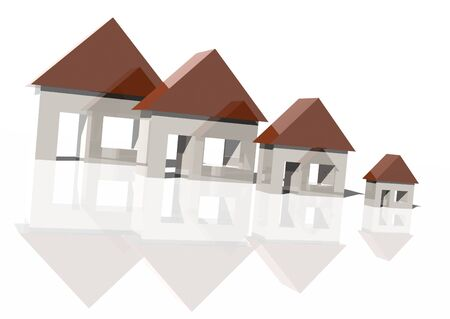 smaller: 3d rendering of houses getting smaller over white