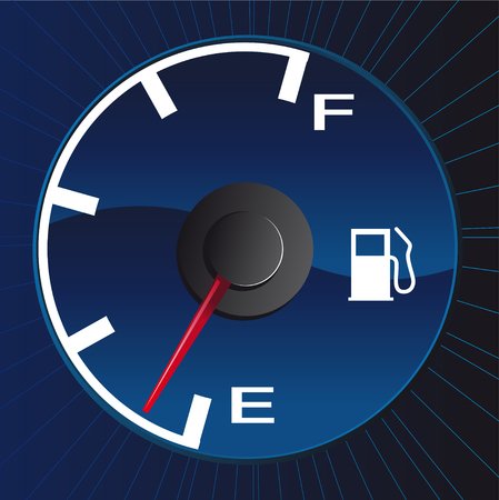 Abstract vector illustration of a gasmeter running on empty Çizim