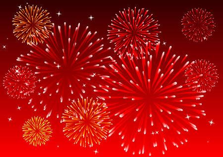 Abstract vector illustratie van vuurwerk aan de hemel