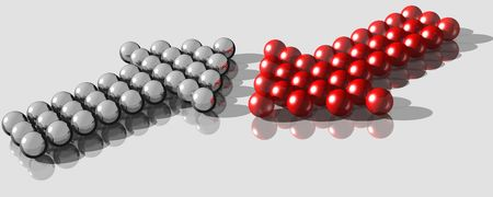 contradict: 3d rendering of balls forming two arrows in different directions Stock Photo