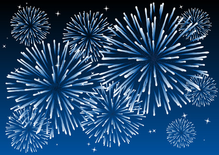 feu d artifice: R�sum� illustration vectorielle de feux d'artifice dans le ciel  Illustration