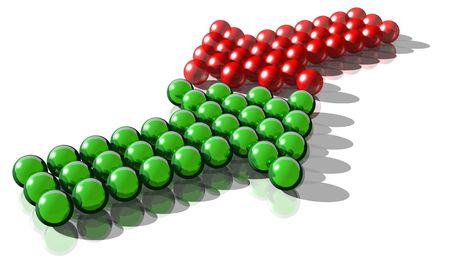 contradict: 3d rendering of a green and a red arrow symbolysing a conflict