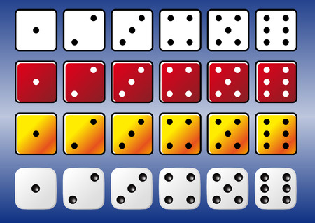 Abstract vector set of isolated coloured dice Vector