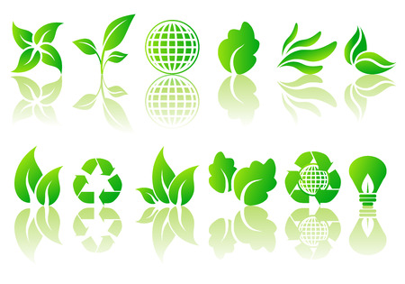 Abstract vector set of ecological symbol illustrations Stock Vector - 3366108