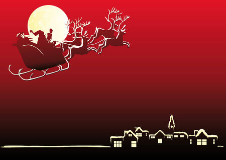 Abstract vector illustration of Santa Claus in his sleigh Vector
