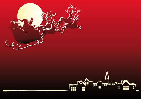 papa noel en trineo: Resumen ilustraci�n vectorial de Santa Claus en su trineo  Vectores